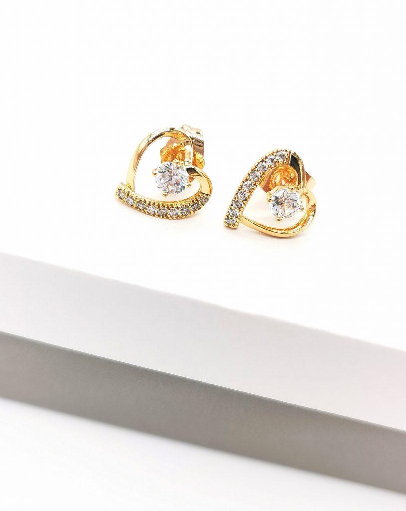 Callel 18K Heart Stud Earrings