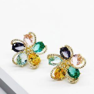 18K Gold Multicoloured Flower Huge Stud Earrings