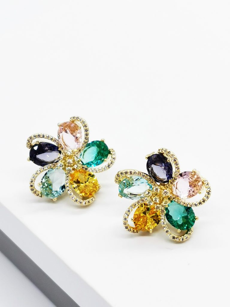 Callel 18K Gold Multicoloured Flower Huge Stud Earrings