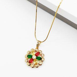 Cubic Zirconia Crystal Multicoloured Flower Pendant Necklace