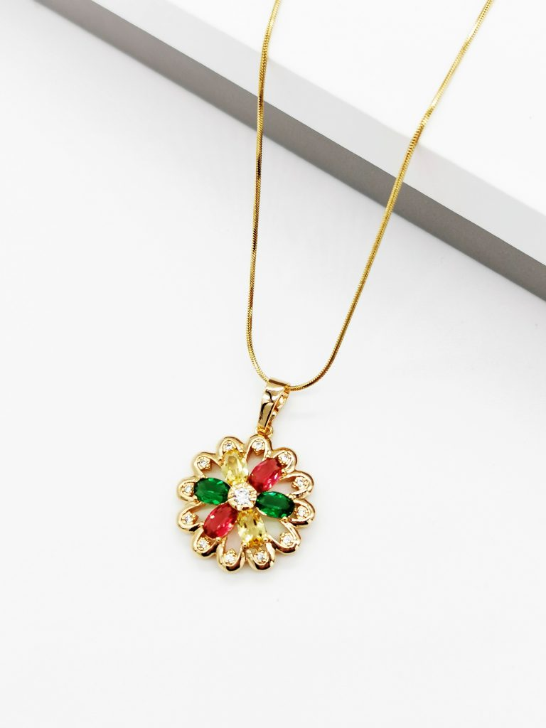 Callel 18k Gold Cubic Zirconia Multicoloured Flower Pendant Necklace