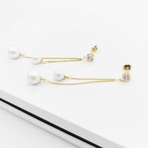 14K Gold Cubic Zirconia Pearl Dangle Earrings