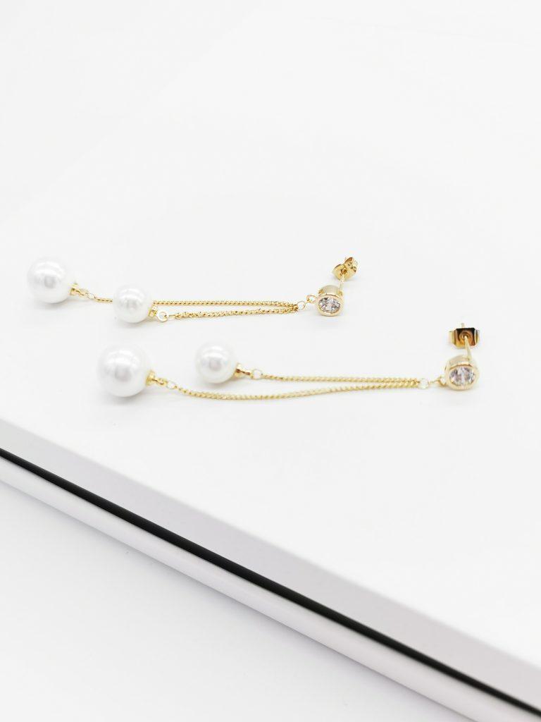 Callel 14K Gold Cubic Zirconia Pearl Dangle Earrings