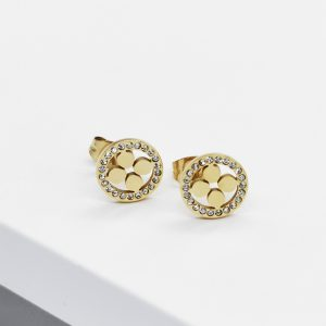 14K Gold Cubic Zirconia Four Leaf Clover Stud Earrings