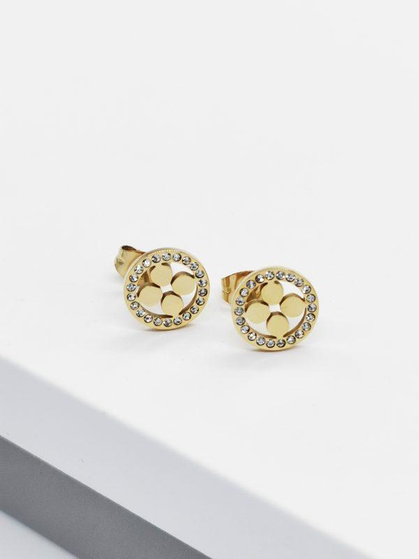 Callel 14K Gold Cubic Zirconia Four Leaf Clover Stud Earrings