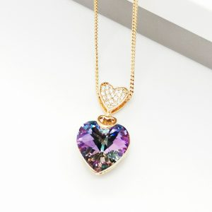 18K Gold Heart Embellished With Lilac Crystal From Swarovski
