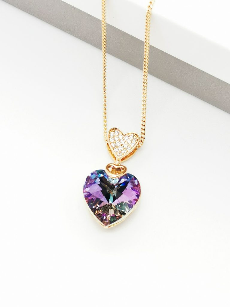 Callel 18K Gold Heart Embellished With Lilac Crystal From Swarovski