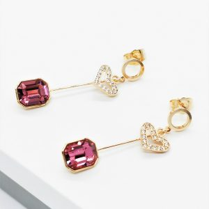 18K Gold Heart Drop Earrings Embellished With Rose Colour Crystal From Swarovski