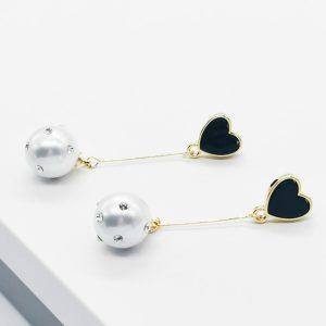 14K Gold Long Drop Black Heart & Pearl Stud Earrings