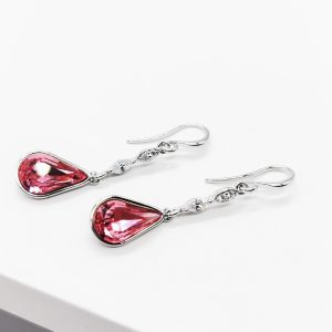 SilverTeardrop Earrings Embellished With Rose Colour Crystal From Swarovski