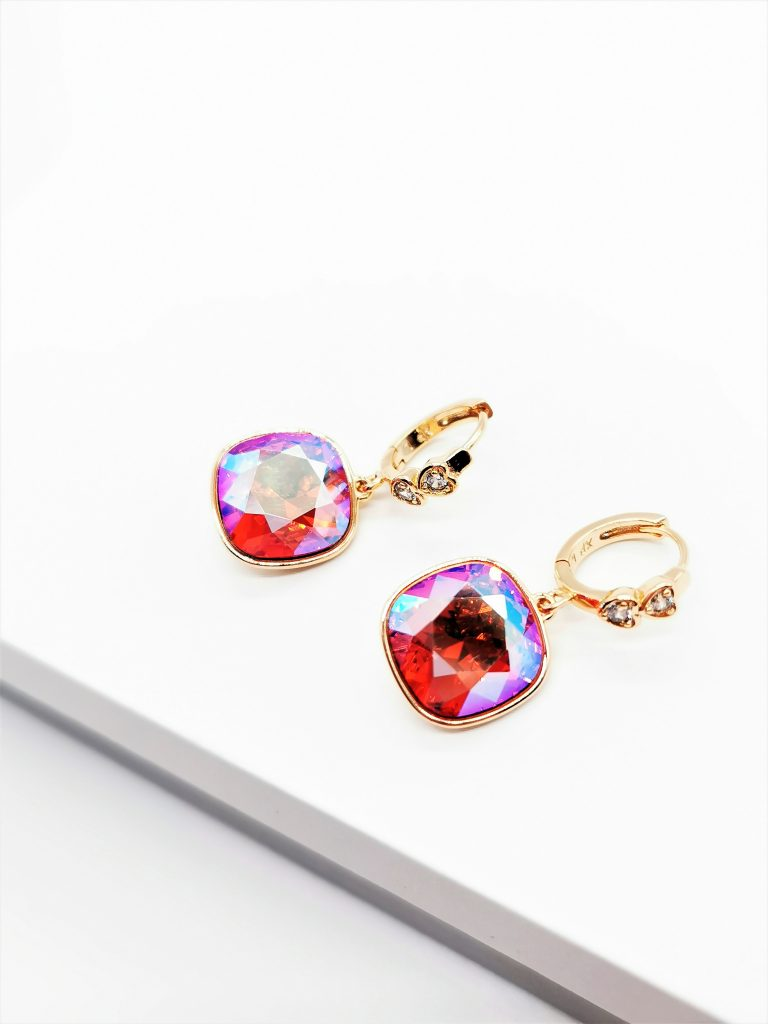 Callel 18K Gold Earrings Embellished With Rose Crystal From Swarovski