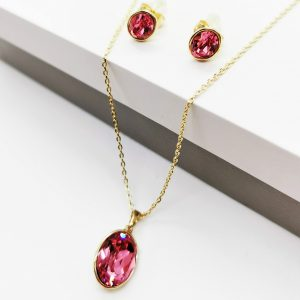 14K Gold Necklace & Earrings Set Embellished With Rose Crystal From Swarovski
