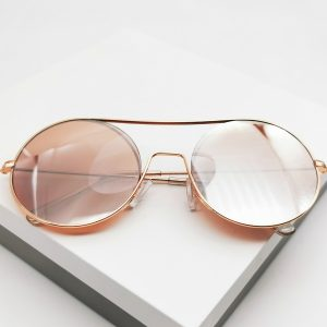 Rose Gold Flat Top Frame Sunglasses