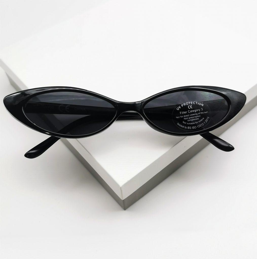 Callel Black Narrow Cat Eye Sunglasses