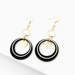 14K Gold Black Dangle Drop Hook Earrings