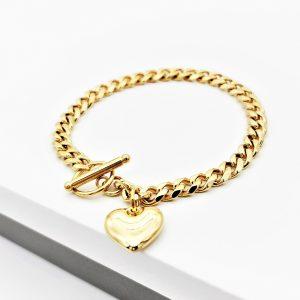 24K Gold Heart Curb Chain Bracelet