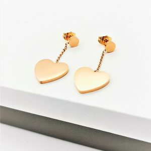 Rose Gold Heart Drop Stud Earrings