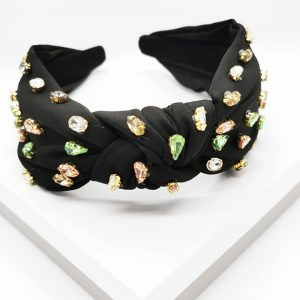 Black Multicoloured Crystal Knotted Headband
