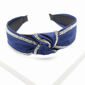 Dark Blue Sequin Knotted Headband