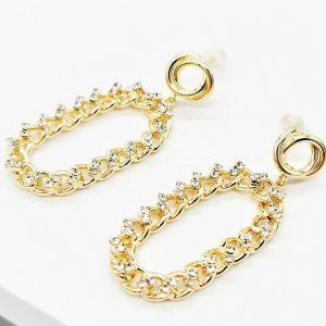 Cubic Zirconia Gold Chain Drop Earrings