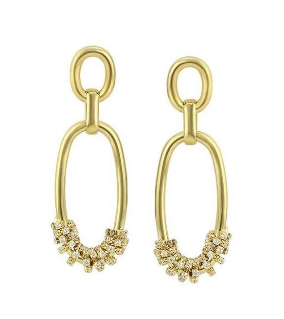 Callel Gold Double Chain Drop Earrings