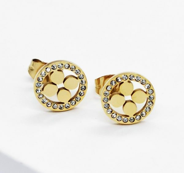 Callel 14K Gold Plated Cubic Zirconia Four Leaf Clover Stud Earrings