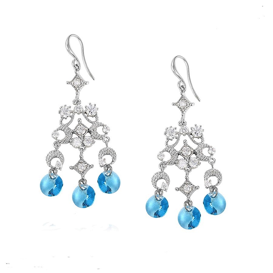 Callel Long Drop Earrings Ebellished with Blue Crystal from Swarovski