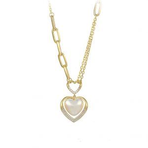 14K Gold Mother Of Pearl Heart Necklace