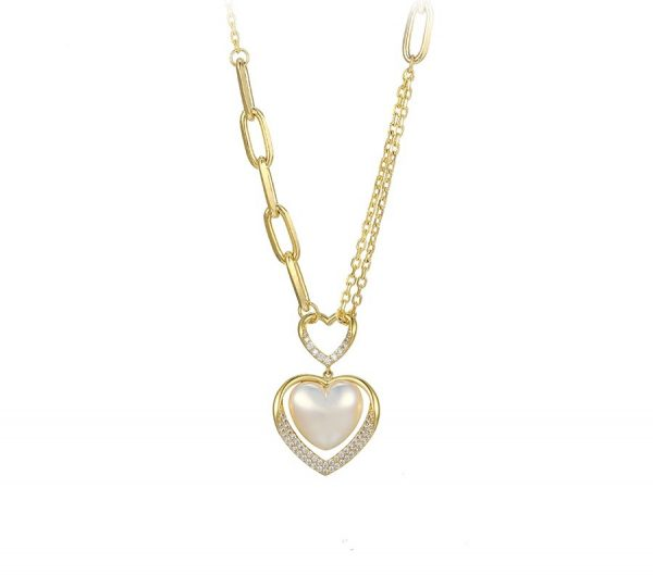 Callel Mother of Pearl Heart Chain Necklace