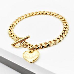 Gold Heart Curb Chain Bracelet