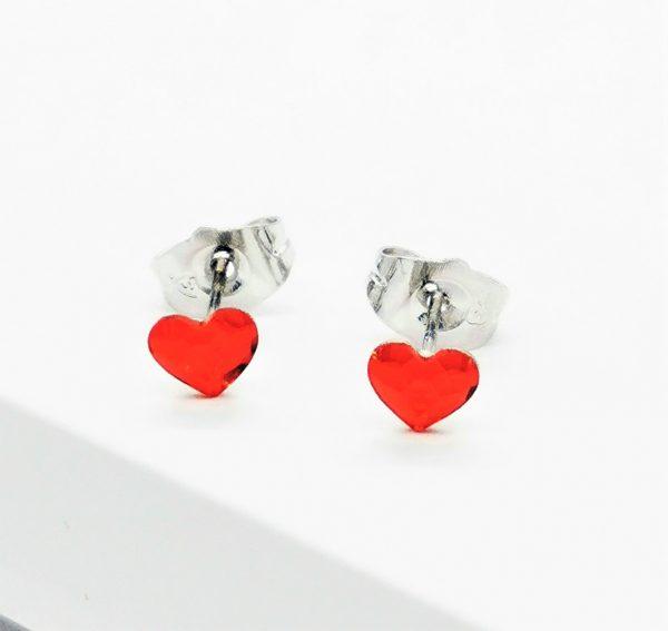 Callel Red Heart Stud Earrings