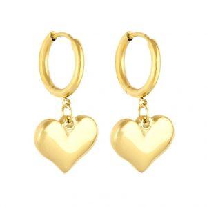 Gold Heart Huggie Drop Earrings
