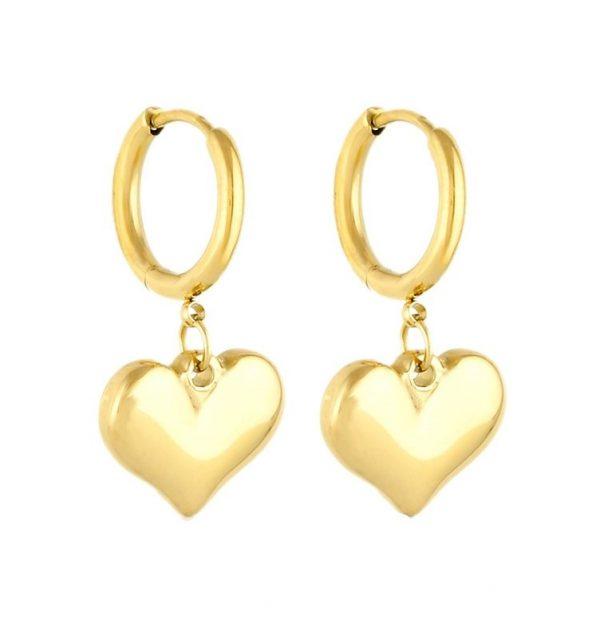 Callel Gold Heart Huggie Earrings
