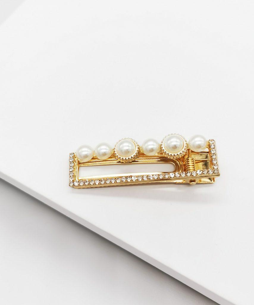 Callel Heart Gold & Pearl Hair Clip