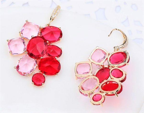 Callel Luxury Pink Cubic Zirconia Hook Earrings In Gold