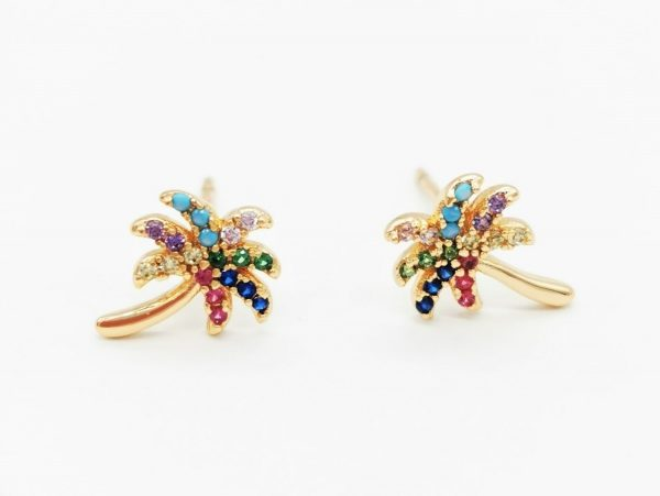 Callel Cubic Zriconia Multicoloured Palm Tree Stud Earrings