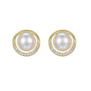 Cubic Zirconia Pearl Stud Earrings In Gold