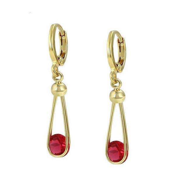 Callel Gold Ruby Cubic Zirconia Dangle Earrings