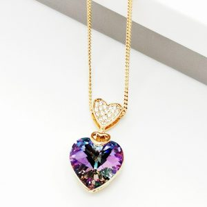 Gold Heart Embellished With Lilac Crystal From Swarovski