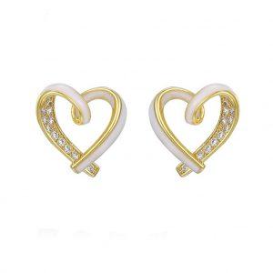Gold & White Enamel Open Heart Stud Earrings