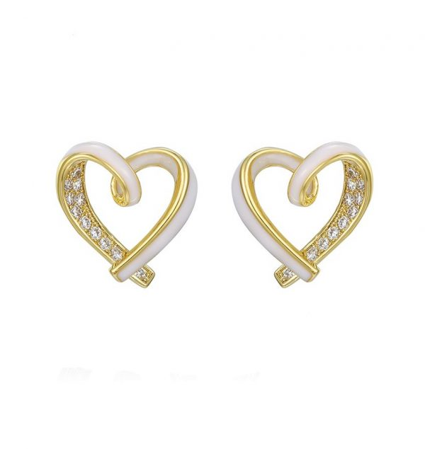 Callel 14K Gold & White Enamel Open Heart Stud Earrings