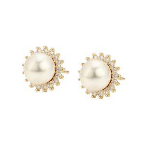 14K Gold Pearl Stud Earrings