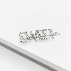 Silver Diamante Sweet Slogan Hair Slide
