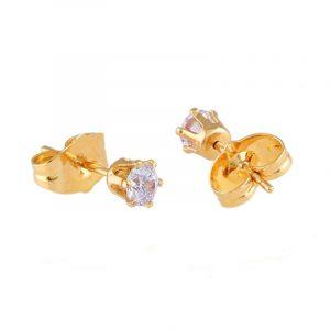 18k Gold Cubic Zirconia Crystal Stud Earrings