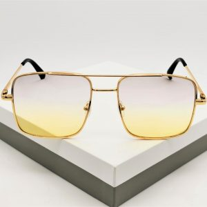 Yellow Tinted Flat Top Square Sunglasses