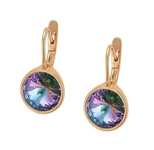 Callel Gold Earrings Embellished With Lilac Crystal From Swarovski