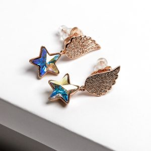 Angel Wing Drop Earrings Embellished With AB Star Shape Crystal From Swarovski
