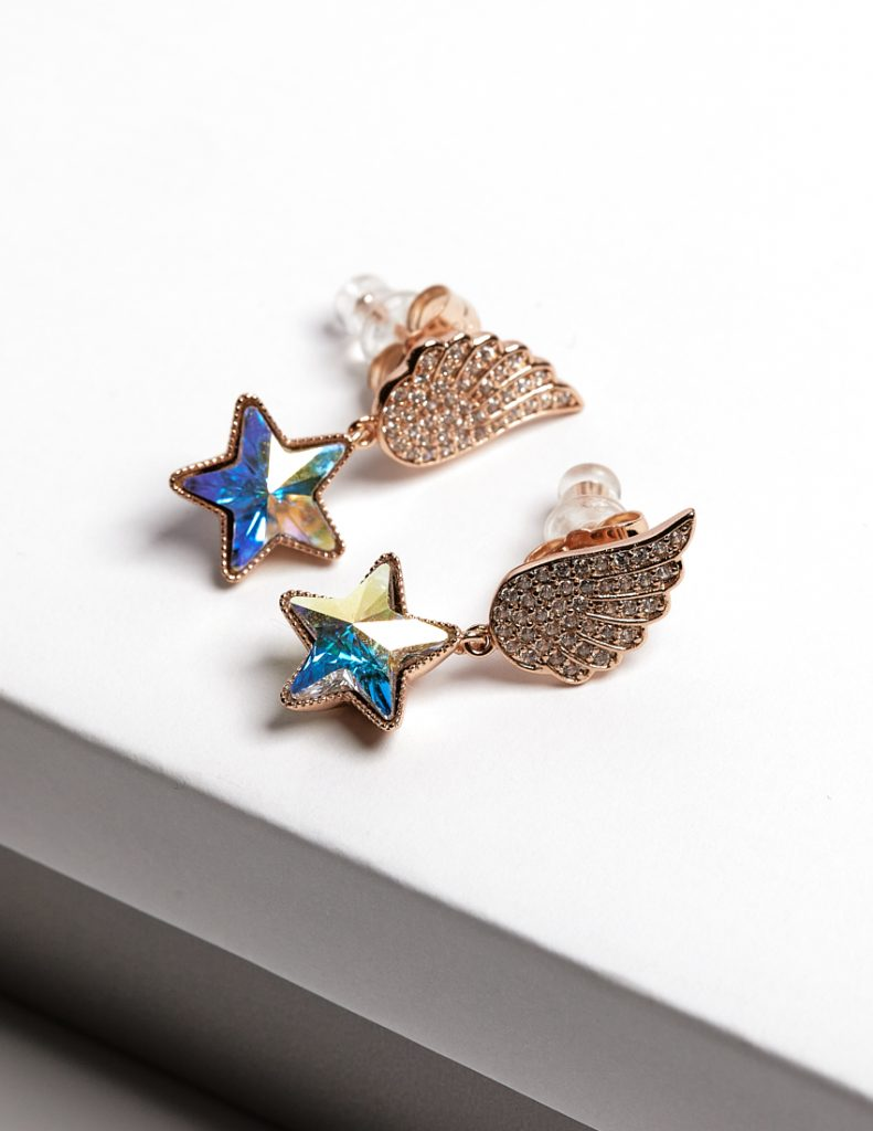 Callel Angel Wing Drop Earrings Embellished With AB Star Shape Crystal From Swarovski