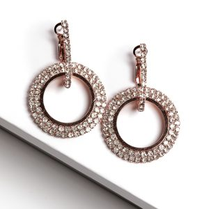 Rose Gold Double Round Huggie Earrings