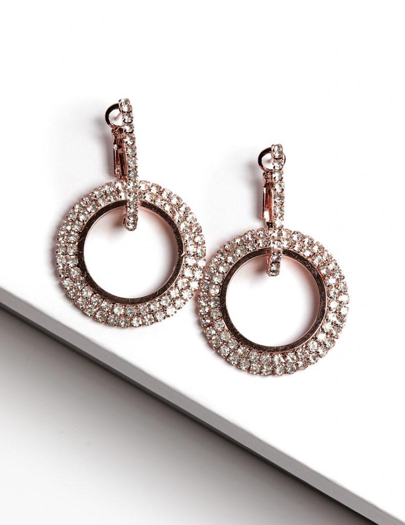 Callel Double Round Cubic Zirconia Huggie Earrings